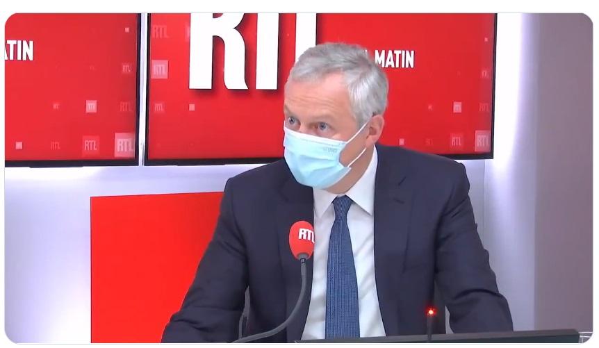Bruno Le Maire a déclaré sur RTL qu'il n'abandonnera pas les entreprises dont l'activité pourrait-être impactée par l'application du Pass sanitaire - DR capture écran