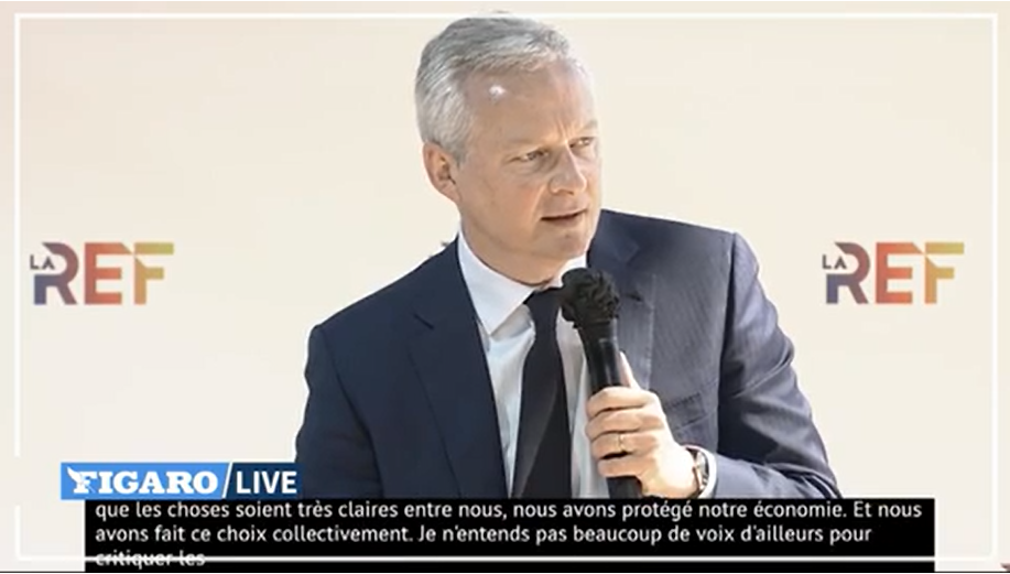 """Bruno Le Maire : """"Le quoi qu'il en coût c'est fini (...)"""" mais """"nous continuerons à soutenir ceux qui en ont besoin"""" - DR capture écran Figaro"""