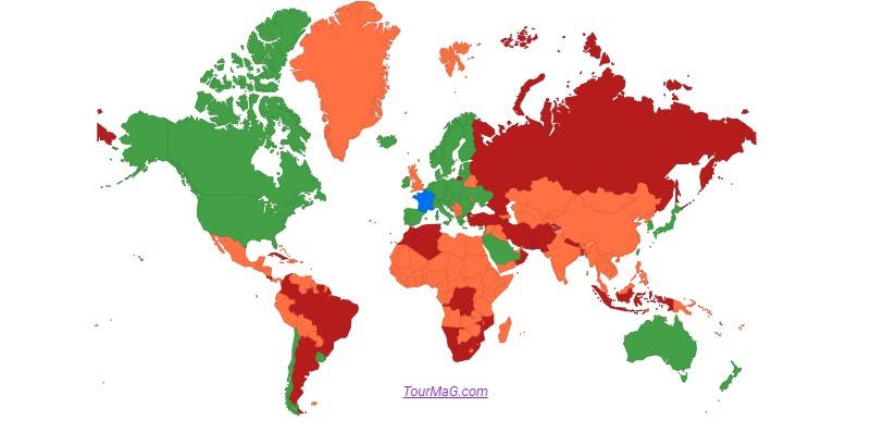 La liste des pays verts, orange et rouges a été mise à jour : la Turquie, la Géorgie et l'Iran passent notamment en rouge - DR