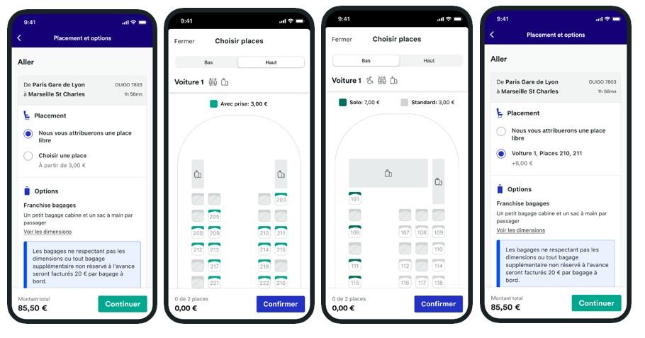 Trainline propose trois nouvelles fonctions : Seat Map (pour choisir son siège), ID Search (pour suivre en temps réel l'avancée d'un train) et Departure Board (pour visualiser tous les trains au départ d'une gare) - DR : Trainline