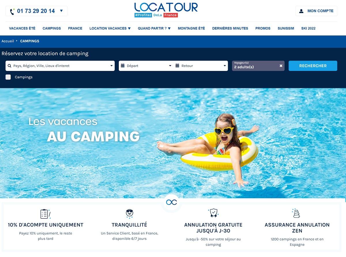 Travelfactory confie Locatour en marque blanche à Campings.com - DR : Capture écran Locatour