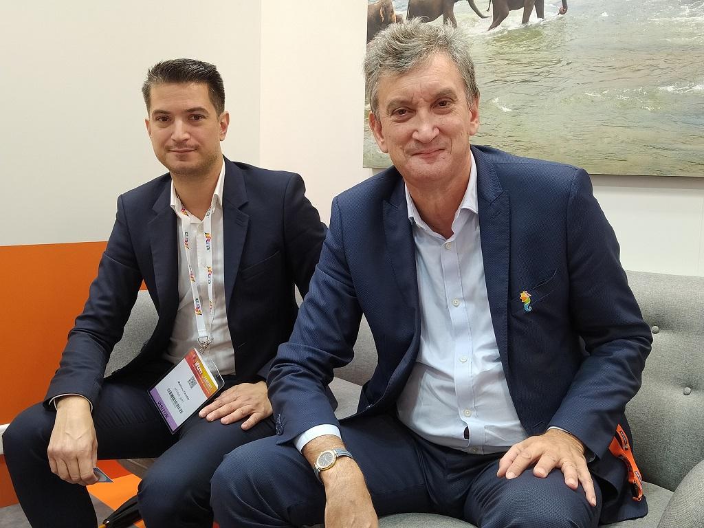 Mathieu Faurie, directeur de l'EPT et Valéry Muggeo, président de la coopérative Sélectour, mercredi 6 octobre 2021, à l'IFTM Top Resa. - CL