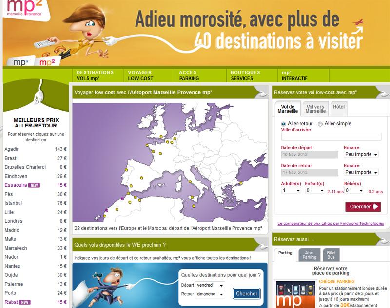 Le site Mp2.aeroport.fr avec son nouveau moteur de recherche - Capture écran