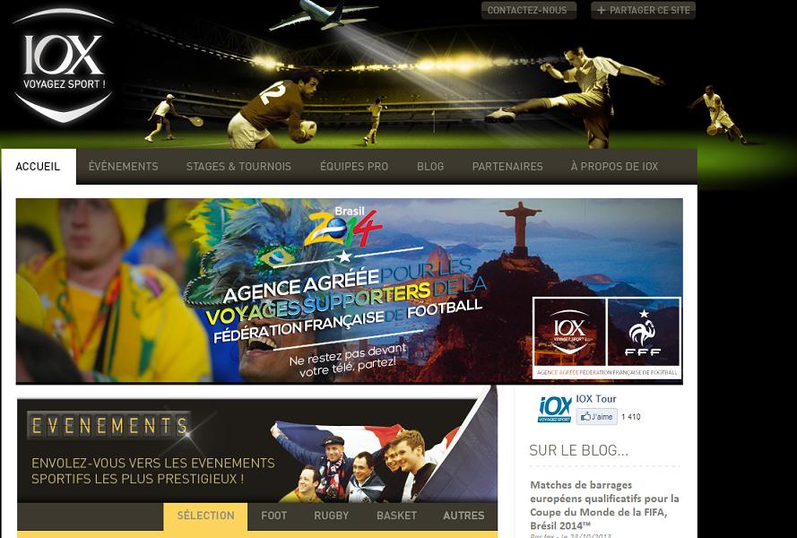 La nouvelle version du site Internet de IOX Tour est en ligne depuis ce mercredi 20 novembre 2013, matin - Capture d'écran