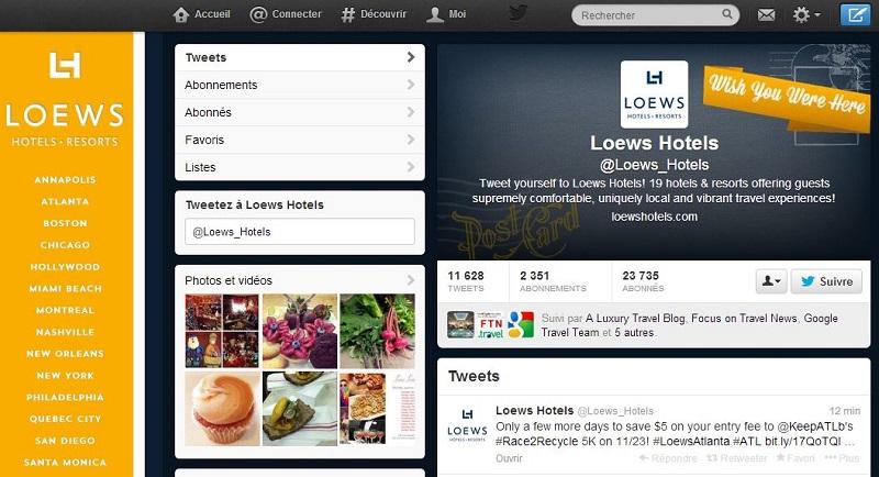 Aujourd'hui, Twitter devient  également un canal de distribution : le groupe hôtelier américain Loews vient d'annoncer qu'il était désormais possible de réserver une chambre via son fil Twitter.