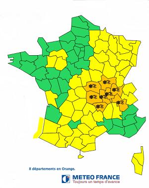8 départements en vigilance orange à la neige pour la nuit de jeudi à vendredi - DR Météo France