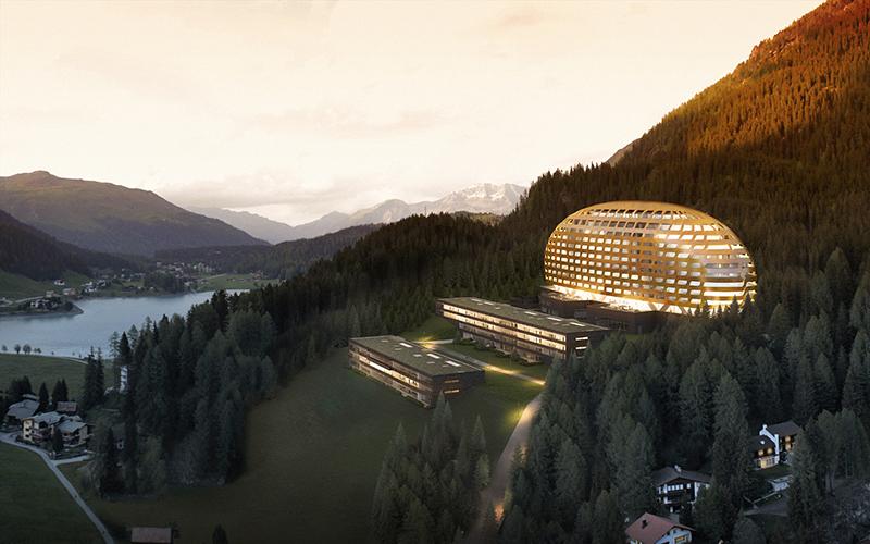 Situé au pied du col de la Flüela, le nouvel hôtel comptera 216 chambres et suites - DR : InterContinental