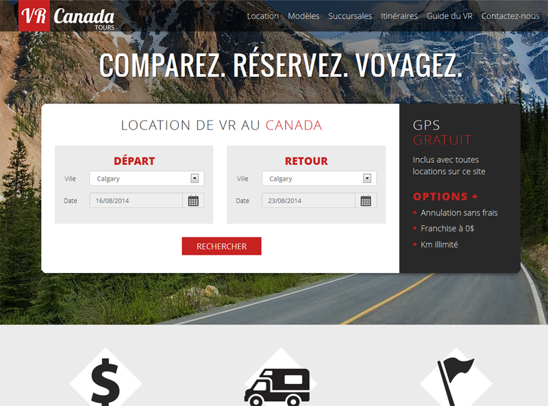 Le site VR Canada permet de comparer les tarifs de locations de camping-cars auprès de tous les fournisseurs canadiens.