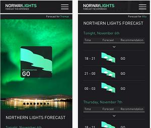 L'application NorwayLights App est téléchargeable gratuitement - Capture d'écran