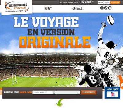 Le site marchant d'Hémisphères Voyages est en ligne depuis novembre 2013 - Capture d'écran