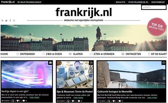 Frankrijk.nl présente des tendances, des adresses, des reportages sur les régions françaises et des conseils de blogueurs - Capture d'écran