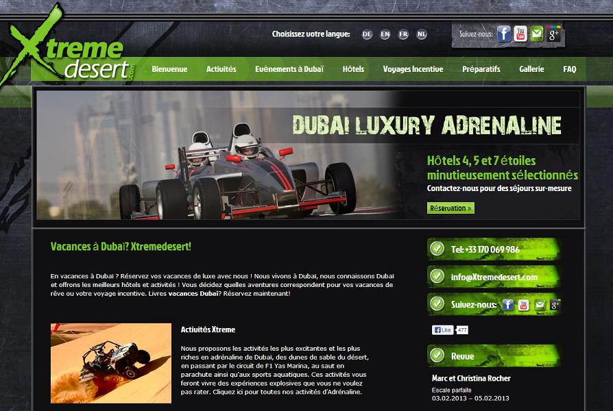 Les différents sites Internet de XTreme Desert restent actifs mais ses équipes ne sont plus joignables - Capture d'écran