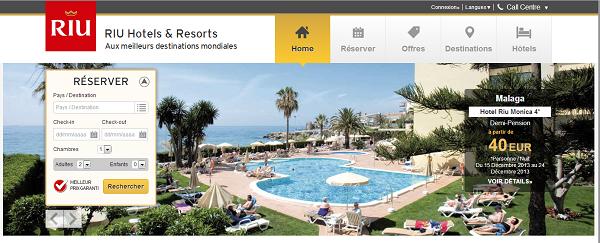 La nouvelle page d'accueil du site Internet de RIU propose un nouvelle organisation - Capture d'écran