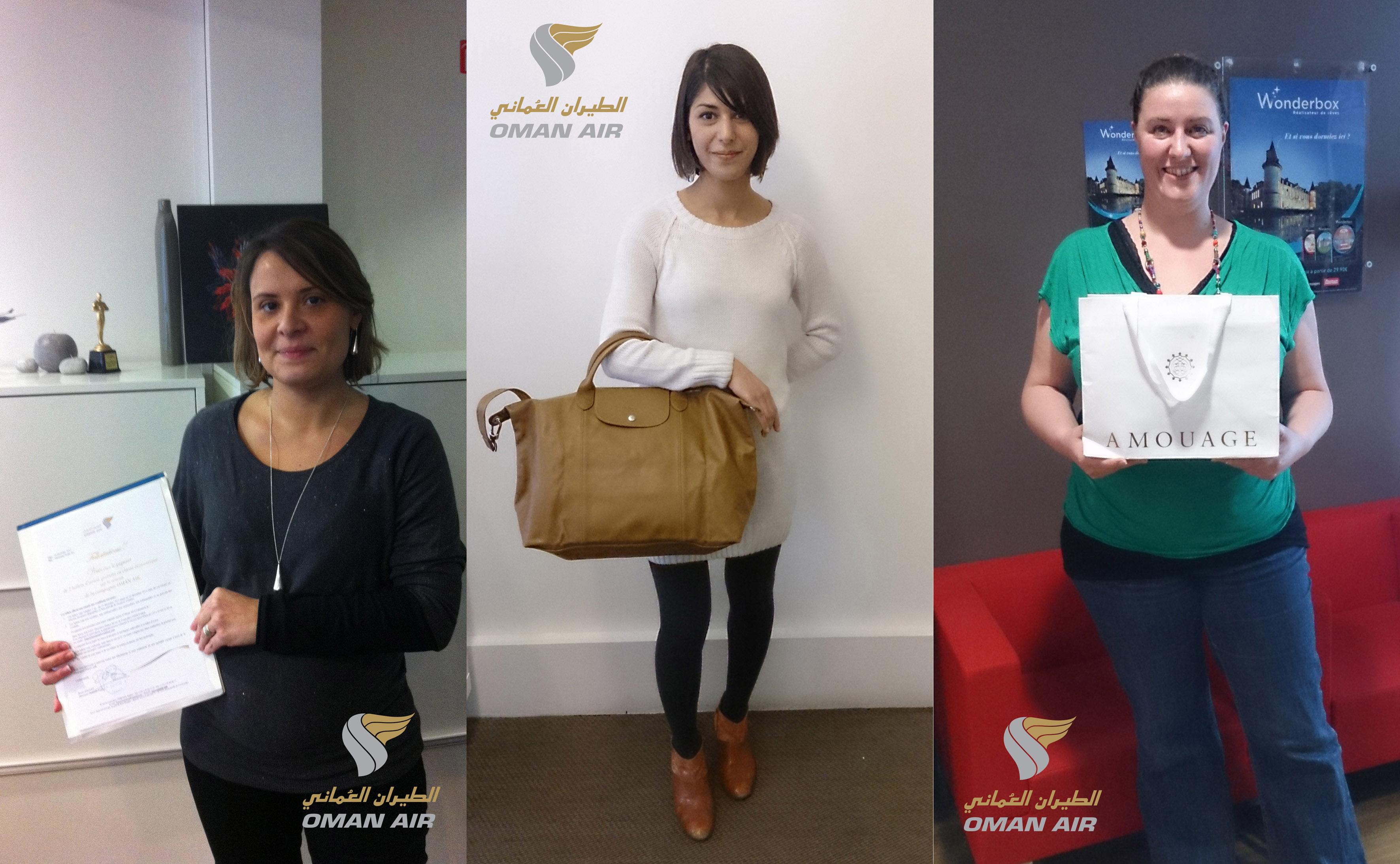Lydia Marques, Melody Ajir et Rachel Sultan sont les 3 gagnantes de l'elearning Oman Air - DR