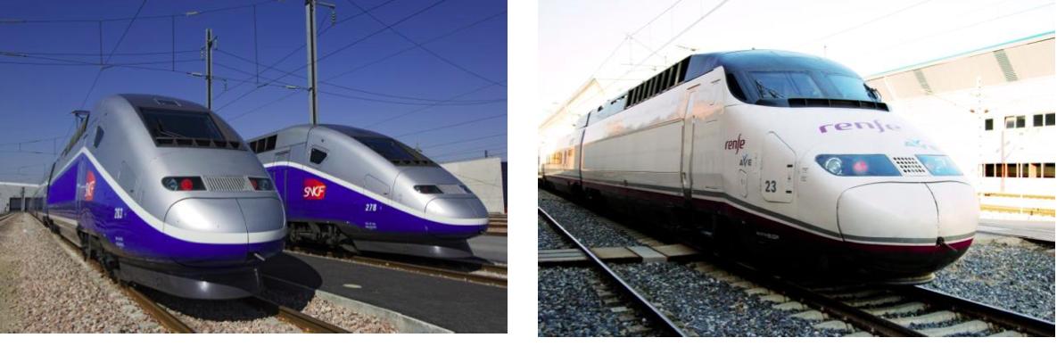 Les trains français et espagnols utilisés pour relier Barcelone. DR