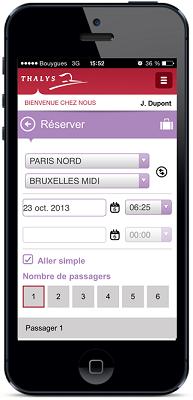 Il est désormais possible de réserver des billets Thalys directement depuis l'application mobile - DR