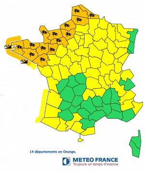 L'alerte orange touche 14 départements de la Loire-Atlantique au Nord - DR Météo France