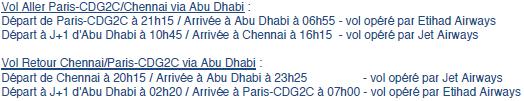 Jet Airways : vols CDG-Chennai via Abu Dhabi dès le 15 janvier 2014