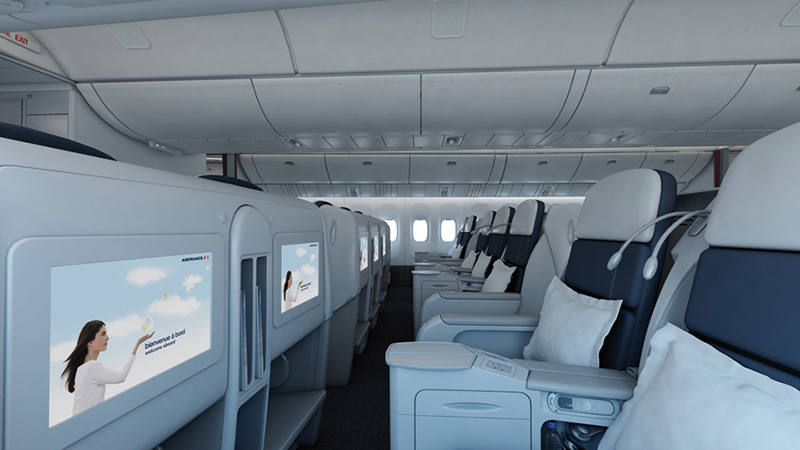 """En lançant une classe Afaires """"accordéon, Air France souhaite obtenir plus de sièges en classe économique lorsque la demande est plus forte sur ce type de produit et d'éviter d'occuper un appareil avec des sièges « affaires » que l'on n'arriverait pas à vendre - DR : Boeing"""