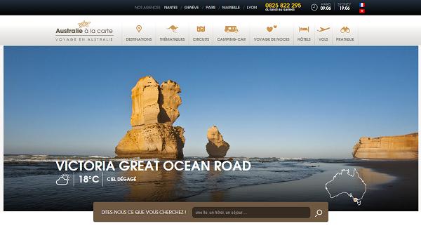 Australie à la Carte dote son site Internet de nouveau contenu et lui offre un nouveau design - Capture d'écran