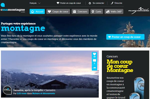 Cmamontagne.com a pour objectif de réunir les fans de montagne autour de leur passion commune - Capture d'écran