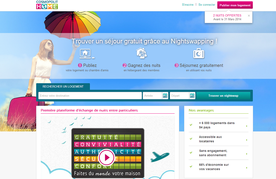 CosmopolitHome.com est une société française qui développe le concept du NightSwapping - Capture d'écran