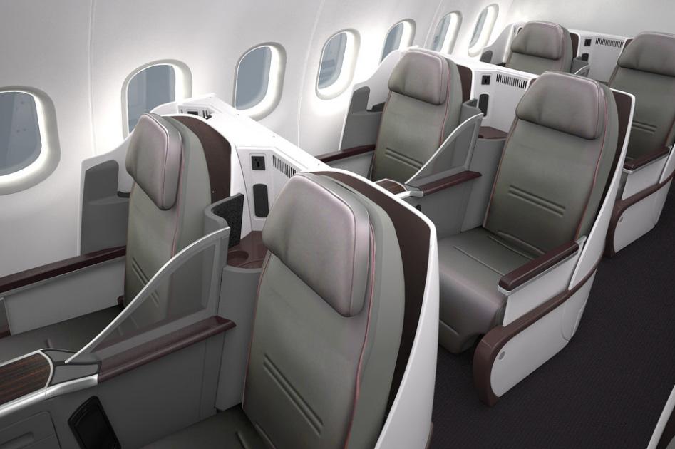 La cabine de l'A319 comptera une quarantaine de sièges configurés en rangées de quatre fauteuils (2-2) avec un couloir unique.Copyright Qatar Airways