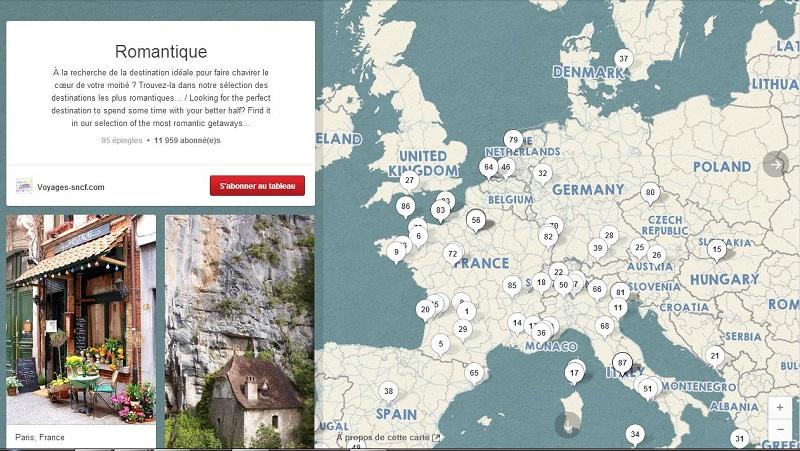 """Le tableau géolocalisé de Voyages-sncf.com sur le thème """"Romantique""""."""