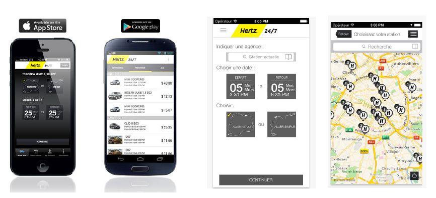 L'application Hertz 24/7 a été développée spécifiquement pour l'offre d'auto-partage Hertz et offre la possibilité, grâce au système de géolocalisation, de vérifier la disponibilité immédiate d'un véhicule à proximité et de le réserver 24h/24 et 7j/7.