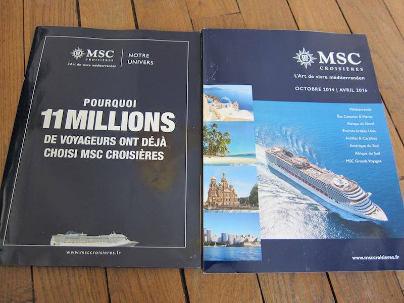 MSC Croisières a publié une brochure allant jusqu'en avril 2016, ainsi qu'un livret présentant l'univers de la compagnie. photo LAC