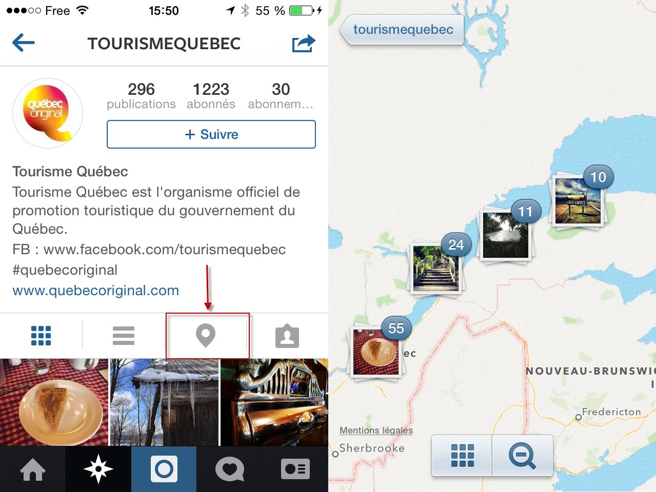 Exemple des photos géolocalisées de Tourisme Québec