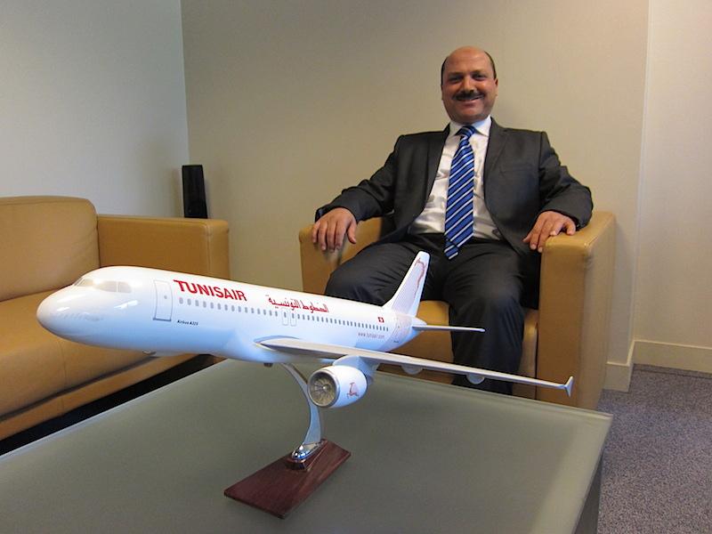 Slaheddine Blidi le directeur France de Tunisair est très optimiste sur la reprise de l'activité de sa compagnie. Photo LAC