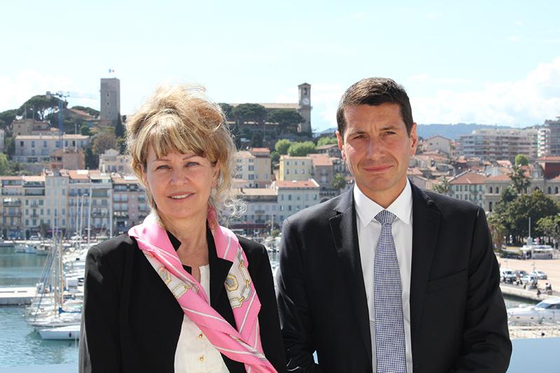 La nouvelle présidente du palais des Festivals, Claire-Anne Reix, en compagnie de David Lisnard, élu maire et ancien président du palais durant 13 ans - DR