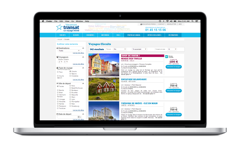 L'affichage du site Internet de Vacances Transat s'adapte désormais à la taille de l'écran sur lequel il est consulté - Photo DR