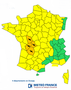 4 départements de l'Ouest du Massif Central en vigilance orange - DR Météo France