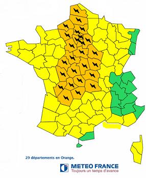 Météo France place 29 départements français en vigilance orange aux orages - DR : Météo France