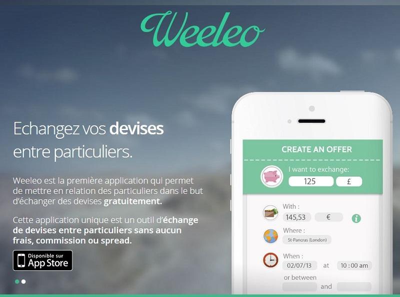 Weeleo est une application mobile qui permet de mettre en relation des particuliers pour échanger leurs devises de main en main avec les taux du jour et gratuitement, sans passer par les bureaux de change - DR