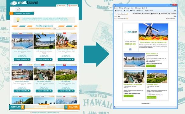 Mail.Travel, accessible depuis n'importe quel navigateur, a été conçu pour relayer des offres de voyages en 5 minutes, à l'image de l'agence et avec un message personnalisé.