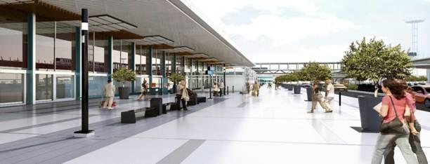 Vue de l'esplanade du terminal Sud de Paris-Orly ©Aéroports de Paris, direction de l'ingénierie et de l'architecture - Photo ADPI.
