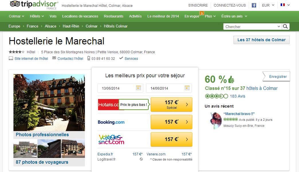 La fiche de l'Hostellerie le Maréchal sur TripAdvisor - Capture d'écran