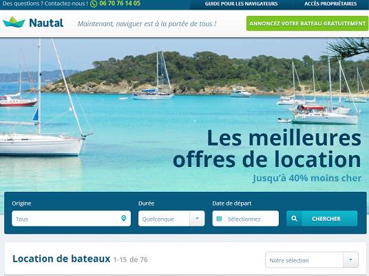 Nautal, site de location de bateaux entre particuliers, arrive sur le marché français - Capture d'écran