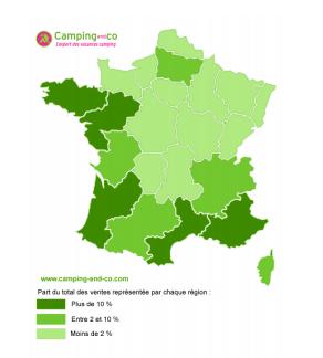 Cartographie des régions les plus attractives pour les campeurs français. DR