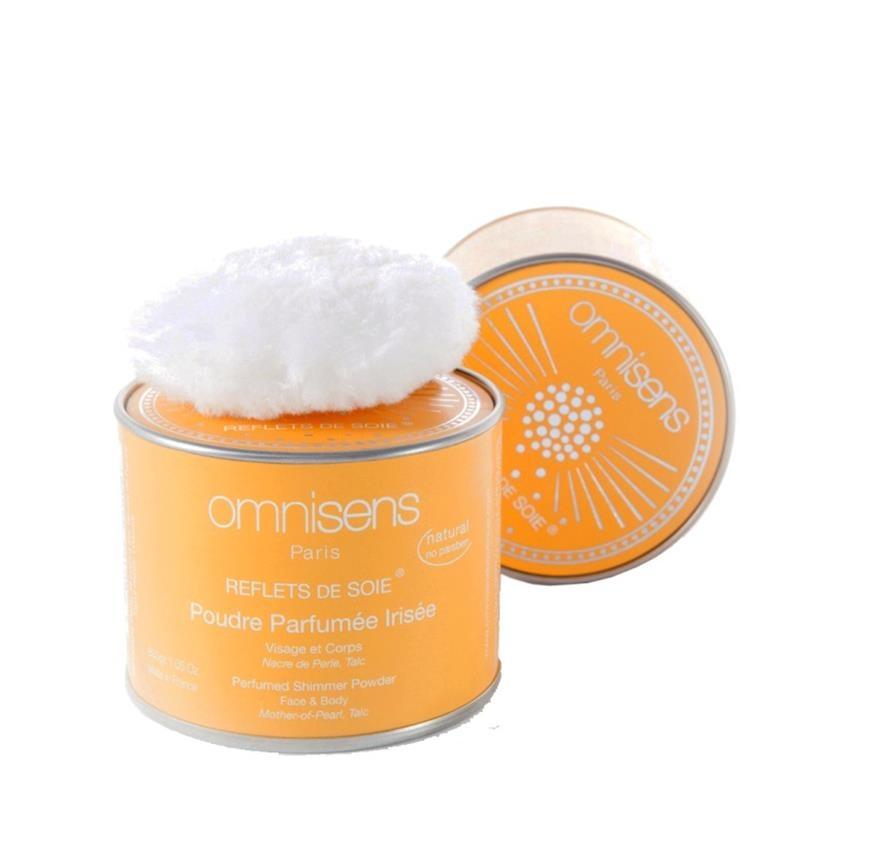 Poudre parfumée irisée visage et corps (nacre, talc, vanille, fleur d'oranger).
