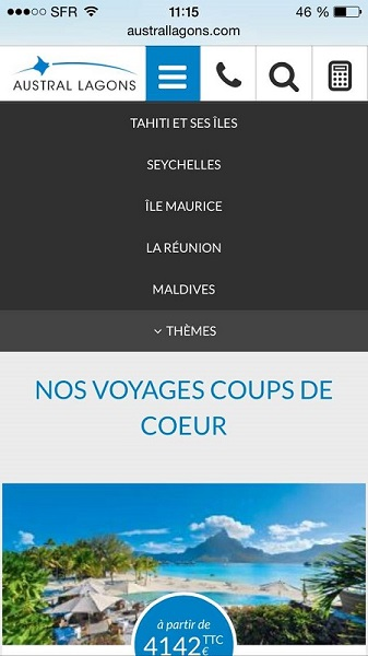 L'application mobile d'Austral Lagons