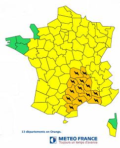 Météo France place 13 départements en vigilance orange aux fortes pluies - DR