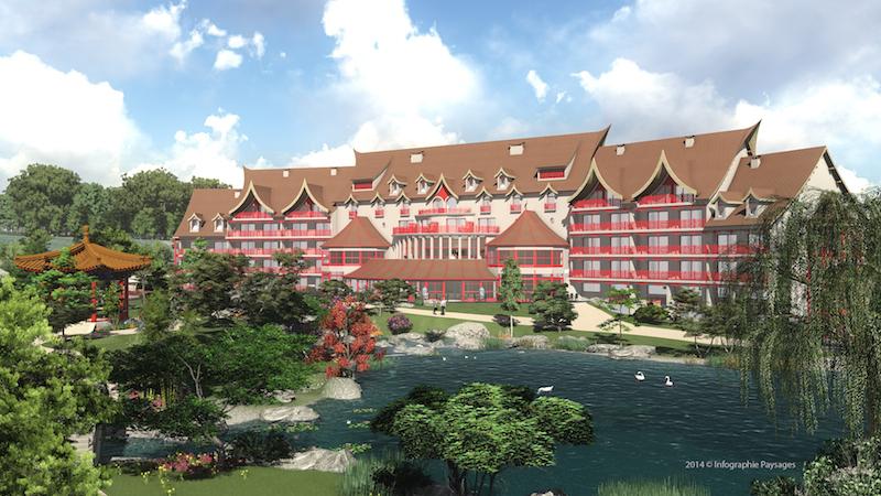 Le nouvel hôtel les Pagodes de Beauval. 2014 © Infographie Paysages
