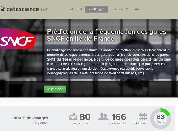 datascience.net, la première plateforme francophone de challenges Big Data, annonce aujourd'hui un nouveau challenge organisé par la SNCF.