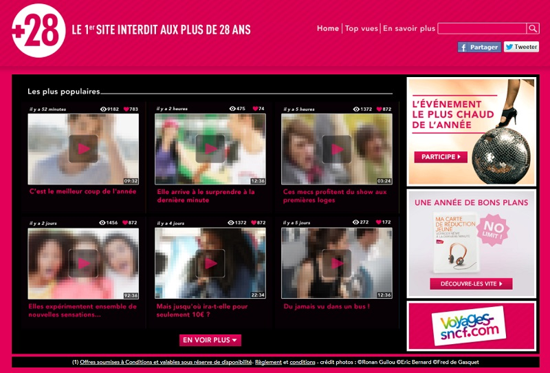 Voyages-sncf.com vient de lancer « +28 », un site événementiel « interdit » aux personnes de plus de 28 ans, accompagné d'un jeu concours Facebook et d'une campagne média sur la cible jeune.