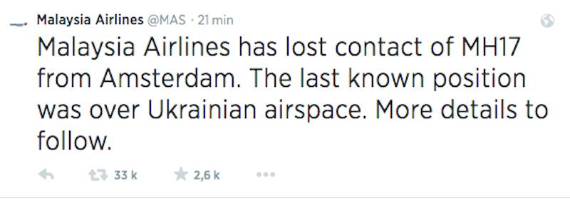 Malaysia Airlines : un Boeing 777 abattu au-dessus de l'Ukraine