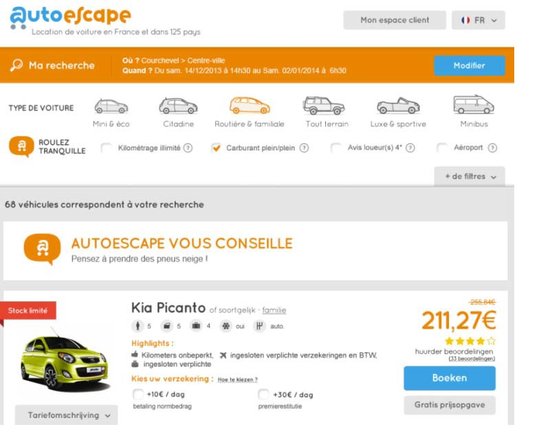 Autoescape, le site spécialiste de la location de voiture en ligne, vient de dévoiler son nouveau site marchand.